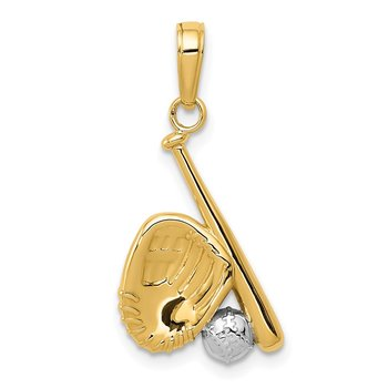 14K w/Rhodium Baseball, Bat, and Glove Pendant