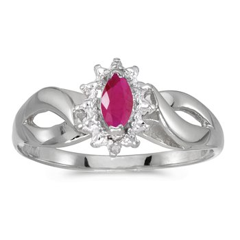 10k White Gold Marquise Ruby And Diamond Ring