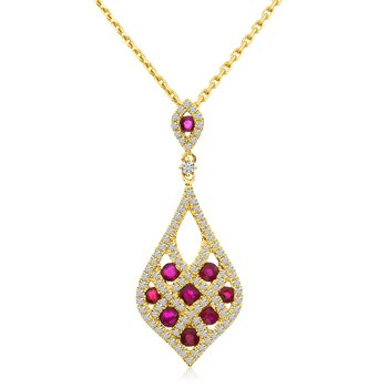 14k Yellow Gold Shield Ruby and Diamond Pendant