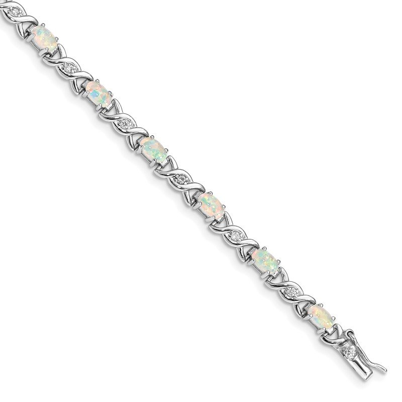Quality Gold Sterling Silver 7inch Rhod-plated White Created Opal and CZ Bracelet