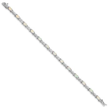 Sterling Silver 7inch Rhod-plated White Created Opal and CZ Bracelet