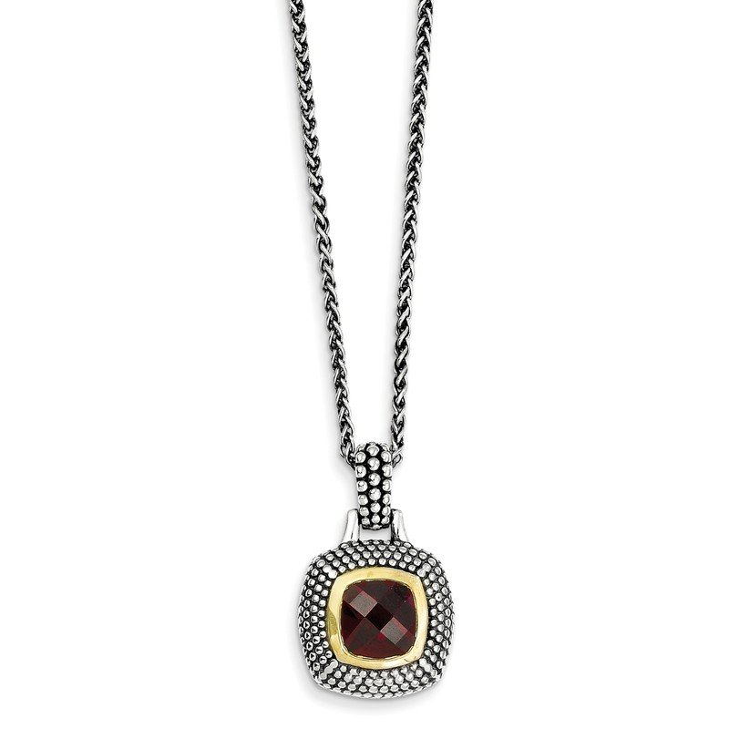 Shey Couture Sterling Silver Gold-tone Flash Gold-plated Garnet Necklace