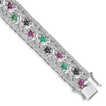 Sterling Silver Rhodium-plated Sapphire, Ruby, Emerald & CZ Bracelet