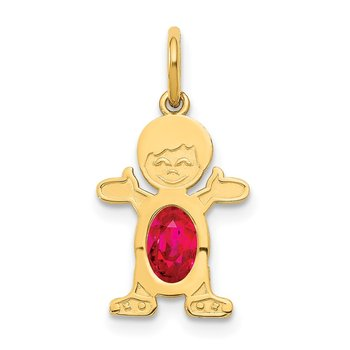 14K Boy 6x4 Oval Genuine Ruby-July