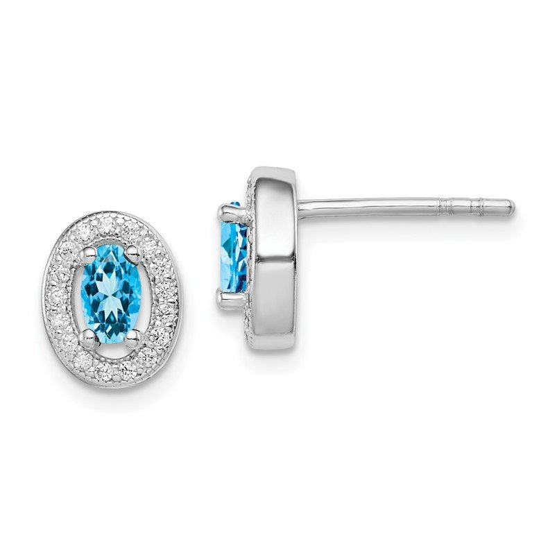 Quality Gold Sterling Silver Rhod-plated Blue and White CZ Oval Stud Earrings