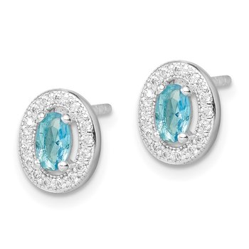 Sterling Silver Rhod-plated Blue and White CZ Oval Stud Earrings