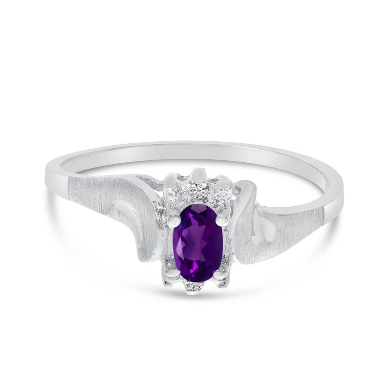 Color Merchants 14k White Gold Oval Amethyst And Diamond Satin Finish Ring