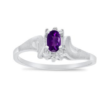 14k White Gold Oval Amethyst And Diamond Satin Finish Ring