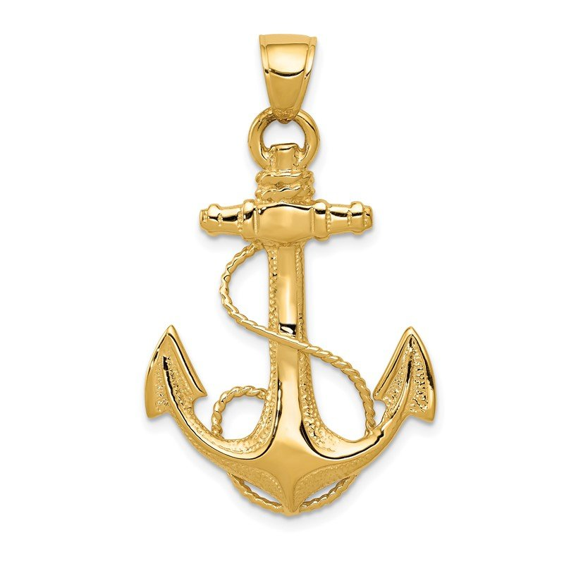 Quality Gold 14K 2-D Anchor with Rope Pendant