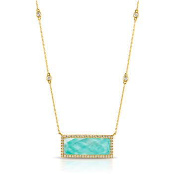 Amazon Breeze Rectangle Halo Necklace 18KY