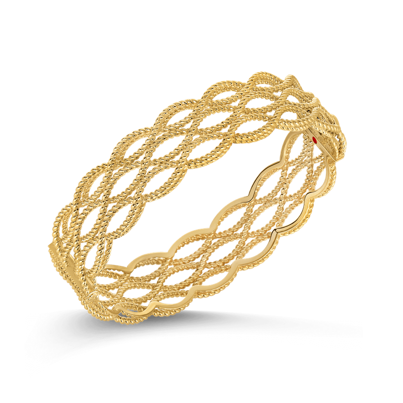 Roberto Coin 18KT GOLD 3 ROW BANGLE