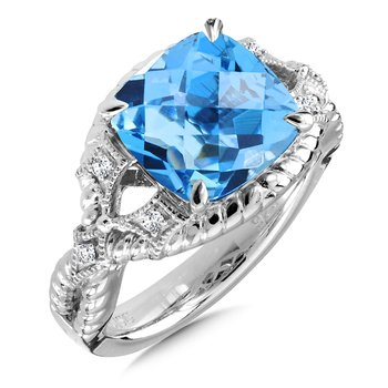 Sterling Silver Blue Topaz & Diamond Ring