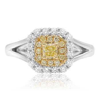 Cathedral Set Double Halo Diamond Ring