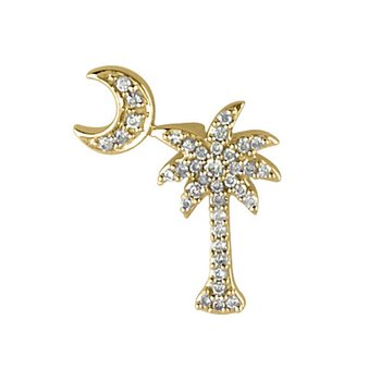 14K Yellow Gold .15 Ct Diamond Palm Tree and Crescent Moon Pendant