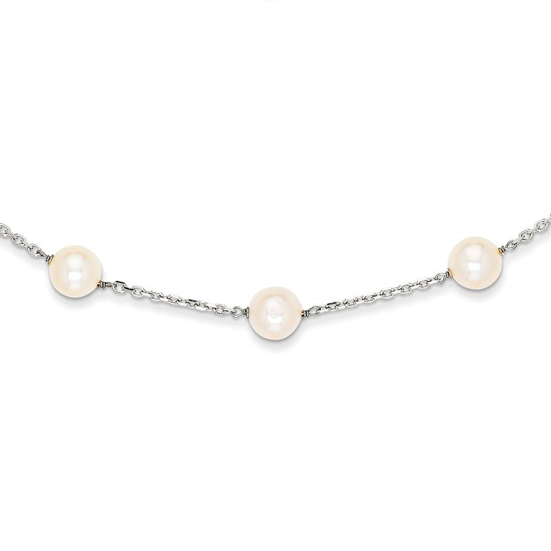 Quality Gold 14K White Gold 8-9mm White Freshwater Cultured Pearl 14-station Necklace