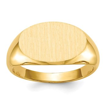 14k 11.0x16.5mm Closed Back Men's Signet Ring