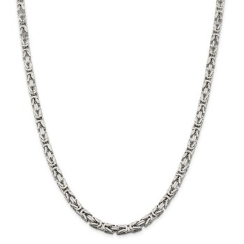 Sterling Silver 5mm Byzantine Chain