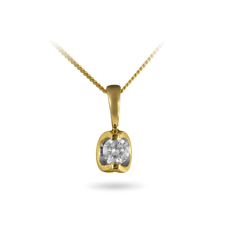 BB Impex 14K YG Diamond Moonshine 0.10 Cts Solitaire Pendant