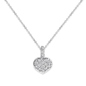 Diamond Heart Necklace in 14k White Gold with 15 Diamonds weighing .30ct tw.