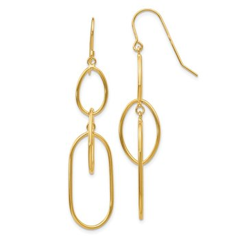 14k 3 Tier Oval Dangle Wire Earrings