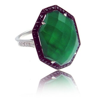 Contemporary Couture by MAZZARESE Emerald Dreams Green Agate Ring