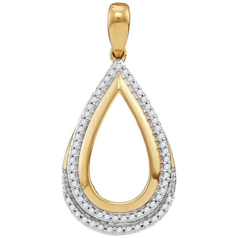 Kingdom Treasures 10kt Yellow Gold Womens Round Diamond Teardrop Frame Cutout Pendant 1/6 Cttw