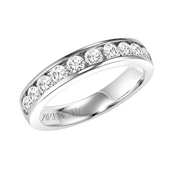 14K White Gold Channel Wedding Band