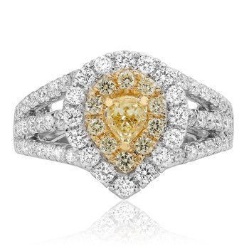 Split Shank Yellow Diamond Ring