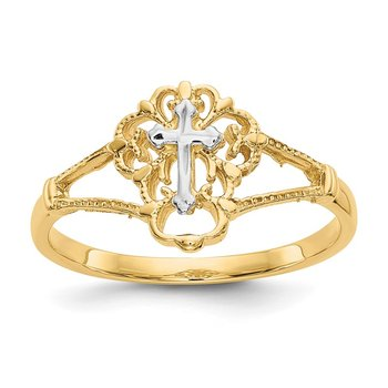 14K Two-tone Diamond Cut Cross Ring