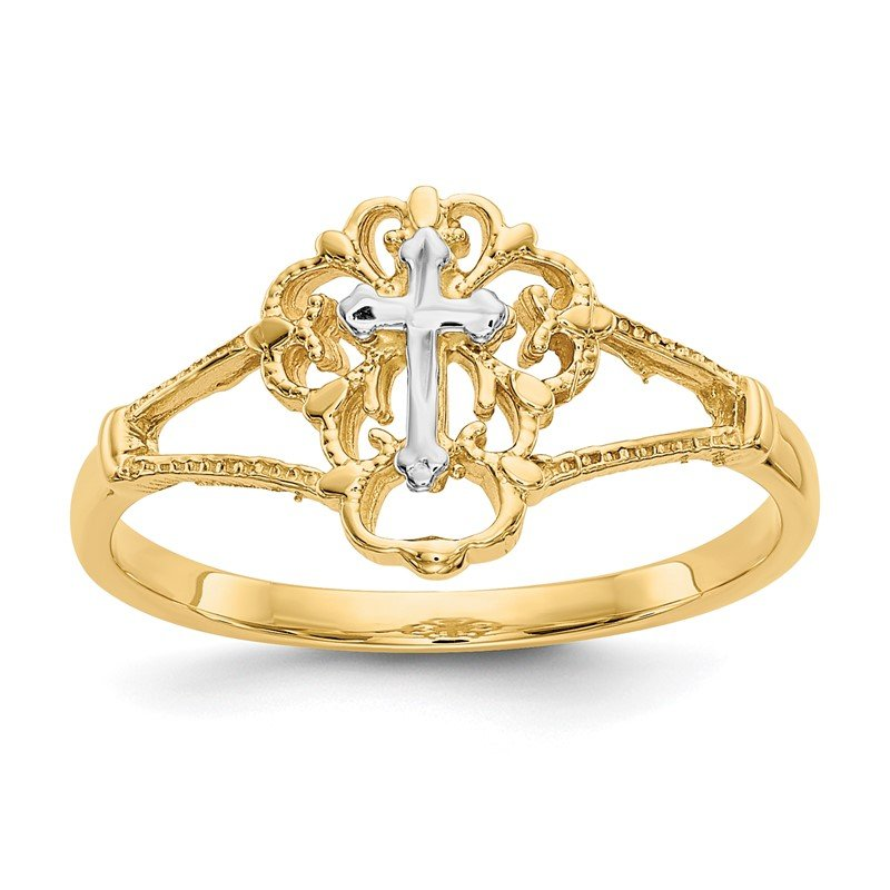 Quality Gold 14K Two-tone Diamond Cut Cross Ring