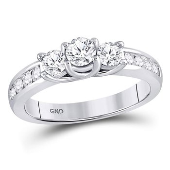 10kt White Gold Womens Round Diamond 3-stone Bridal Wedding Engagement Ring 1.00 Cttw