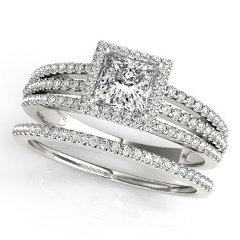- Princess Halo Accented Diamond Engagement Ring and Wedding Band Set