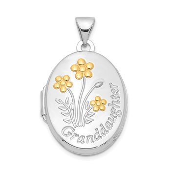 Sterling Silver Rhod-plated & Gold-plated Floral Granddaughter Oval Locket