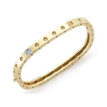 1 Row Square Bangle With Diamonds &Ndash; 18K Yellow Gold, M