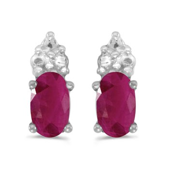 10k White Gold Oval Ruby Earrings