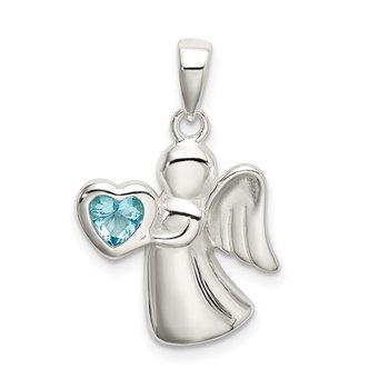 Sterling Silver Angel w/Light Blue CZ Heart Pendant