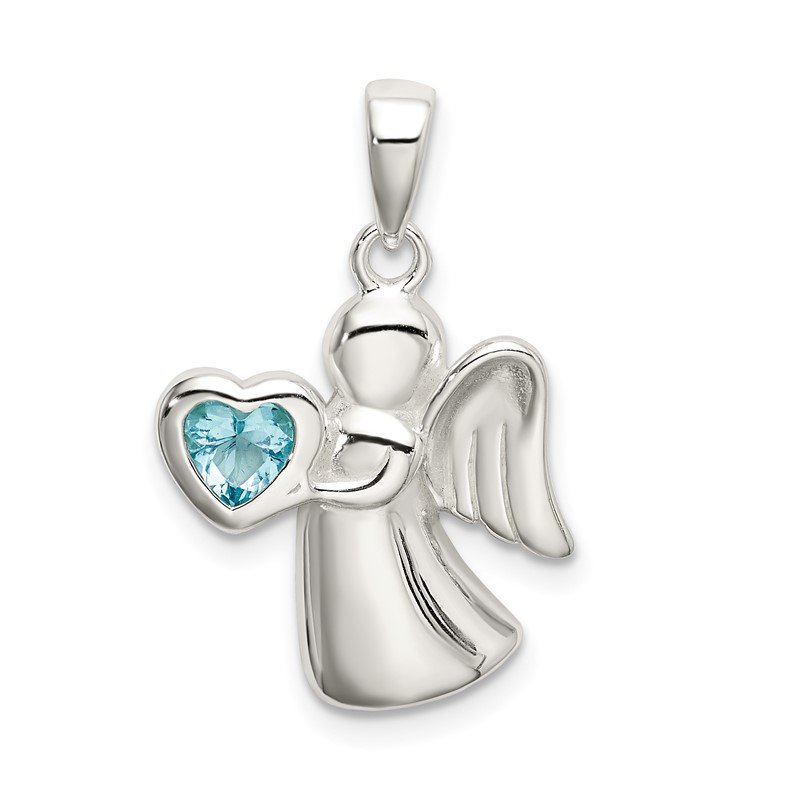 Quality Gold Sterling Silver Angel w/Light Blue CZ Heart Pendant