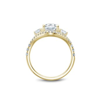 Oval Three Stone Halo Engagement Ring