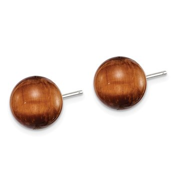 Sterling Silver Tiger's eye Stud Earrings