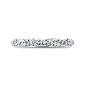18K White Gold Round Diamond Criss-Cross Wedding Band