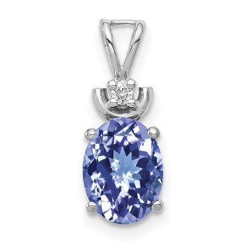 14k White Gold 8x6mm Oval Tanzanite A Diamond Pendant