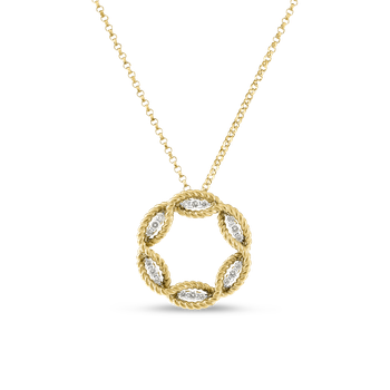 18KT GOLD MEDIUM DIAMOND CIRCLE PENDANT