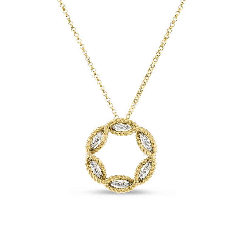Roberto Coin 18KT GOLD MEDIUM DIAMOND CIRCLE PENDANT