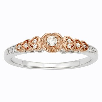 Sterling Silver and 10k Rose Gold 1/8ct TDW Diamond Heart Promise Ring