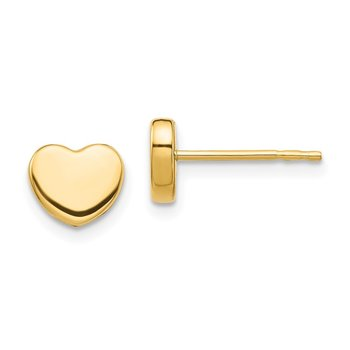 14K Polished Heart Post Earrings