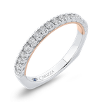 18K Two-Tone Gold Round Diamond Half-Eternity Wedding Band with Euro Shank