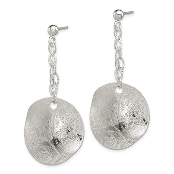 Sterling Silver Polished Textured Fancy Circle Dangle Post Earrings