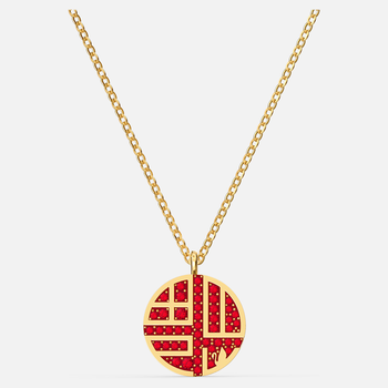 Full Blessing Fu Necklace, Red, Gold-tone plated