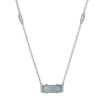 Solitaire Emerald Cut Gem Necklace with Green Chalcedony