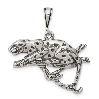 Sterling Silver Antiqued & Textured Leopard on Branch Pendant